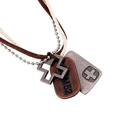European Hollow Cross Plate Leather Pandant Necklace(1pc)