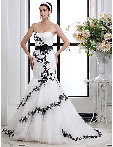 Wedding Dress Fit and Flare Court Train Satin Sweetheart With Flower Sash and Appliques