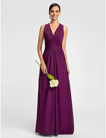 Bridesmaid Dress Floor Length Chiffon Sheath Column V Neck Halter Dress