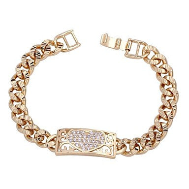 WoMen's New Arrival 18K Gold Plated Hollow Out Heart Design Zircon Bracelet SL0087