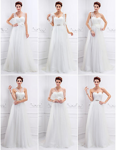 Wedding Dress A Line Sweep Brush Train Tulle Convertible Dress With Crystal Brooch