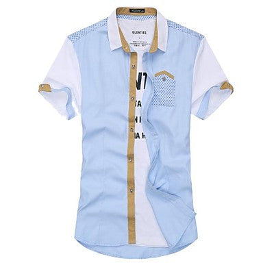 Men's Fashion Leisure Splicing Short-Sleeved Shirt