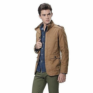 Men's Fashion Slim Fit Lapel British Style Trench Coat Outerwear