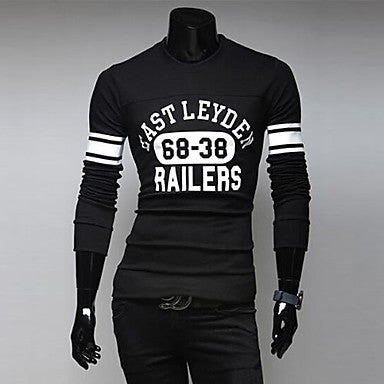 Men's Letter Print Slim Long Sleeved T-shirt