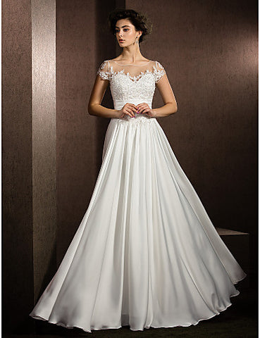 A-line Jewel Floor-length Satin Chiffon Wedding Dress (1483959)