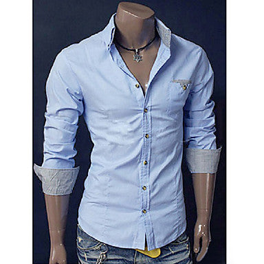 Men's Trendy Plaid Cuffs Long Sleeve Shirt