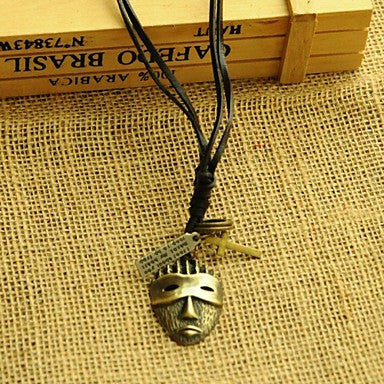 Korea Style Mask Leather Pandant Necklace(1pc)
