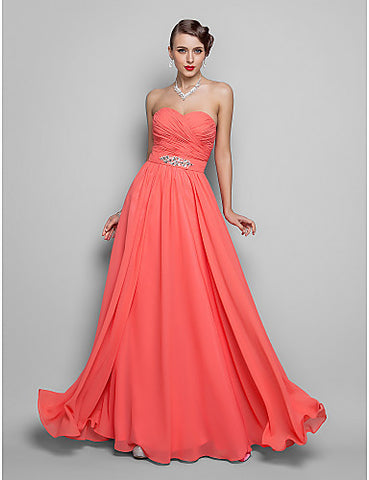 A-line/Princess Sweetheart Floor-length Chiffon Grace Evening/Prom Dress