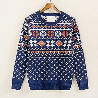 Men's New Winter Flowers Little Korean Cultivating Crewneck Pullover