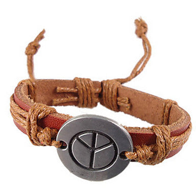 Men's Vintage Aeroplane Leather Bracelet