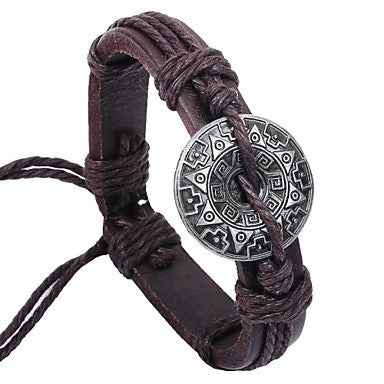Vintage Chinese Code 24cm Men's Brown Leather Vintage Bracelet(Brown)(1 Pc)