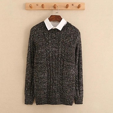 Men's Round Collar Long Sleeve Jacquard Casual Sweaters