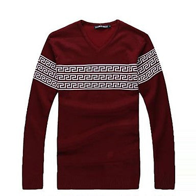Men's V Neck Casual Slim Geometric Sweater(More Colors)