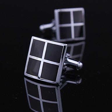 Fashionable Square Black Silver Man Checker Pattern Cufflink for Men (1pair)