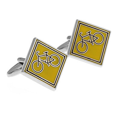 Men's Yellow Bicycle Square Cufflinks(2 PCS)