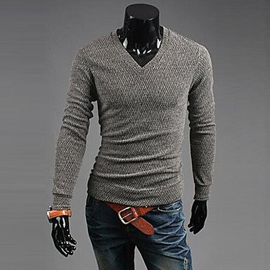 Men's V-neck Long-sleeved Sweater