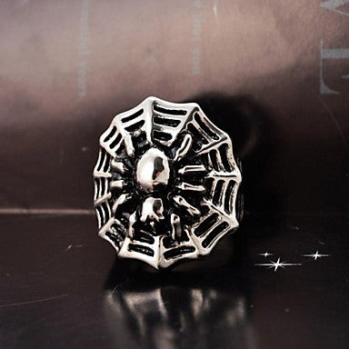 Men's Cast Metal Cobweb Stainless Steel Ring