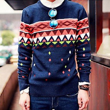 Men's Autumn Leaves Of Korean New Geometric Jacquard Sweaters