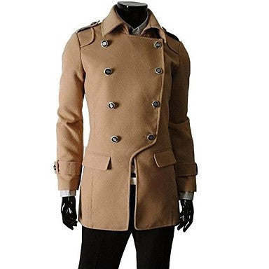 The Men's Fashion Characteristic Double-Breasted Woollen Cloth Outerwear/DustCoat/Overcoat