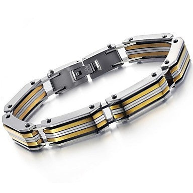 Domineering Cool Street Character Charm Gold Han Edition Titanium Steel Men's Bracelet