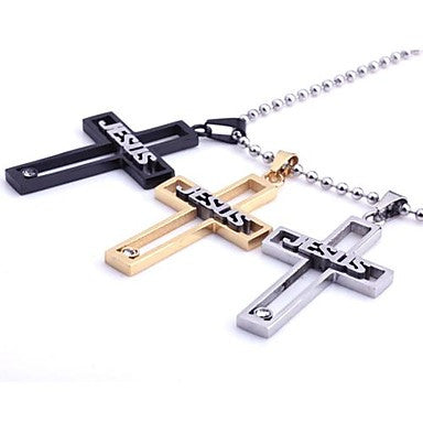 Fashionable Three Colors Jesus Cross Stainless Steel Pendant Necklace