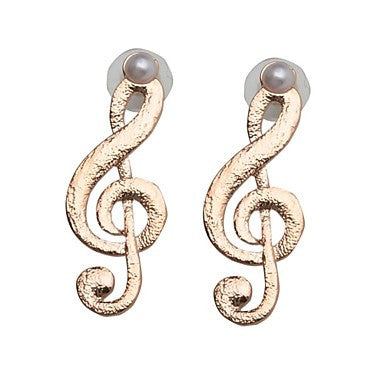 Fashion 14K Gold plated Musical Note Stud Earrings