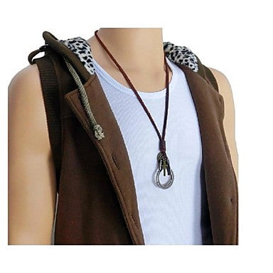 Fashion Retro European Skull Handcuffs Brown Leather Alloy Pendant Necklace(1 Pc)