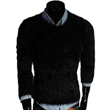 Men's Fashion Pure Color Render Wool Sweater