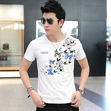 Men's Round Collar Print Short Sleeve T-Shirt