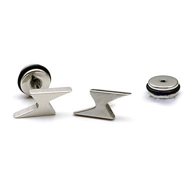Fashion (Lightning Shape) Multicolor Titanium Steel Stud Earrings(Black,Silver) (1 Pc)
