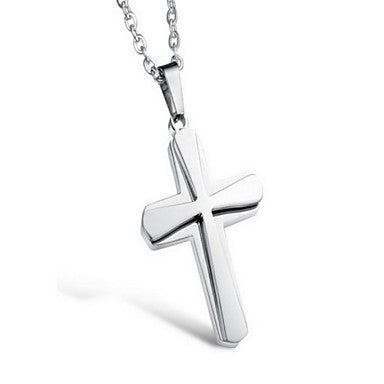 Fashion Cross Drop Multicolor Titanium Steel Pendant Necklace(More Color)(1 Pc)