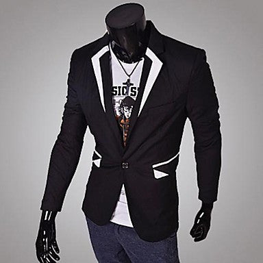 Men's Lapel Contrast Color Coat
