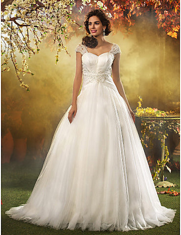 A-line Princess Queen Anne Sweep/Brush Train Tulle Wedding Dress