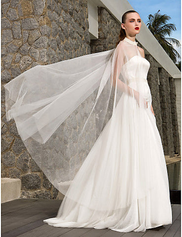 A-line Princess Strapless Sweep/Brush Train Tulle And Satin Wedding Dress (783902)
