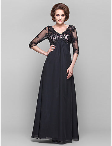 A-line V-neck 3/4 Length Sleeve Lace And Chiffon Floor-length Mother of the Bride Dress
