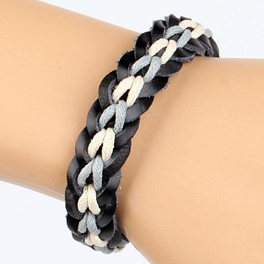 Comfortable Adjustable Men's Leather Soft Bracelet Blue And White Braided Leather(1 Piece)