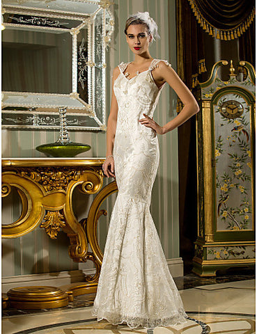 Wedding Dress Trumpet Mermaid Floor Length Lace Stretch Satin Queen Anne With Pearl Detailing