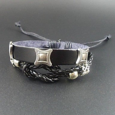 New Arrival Punk Style Vintage Charms Men Jewelry Genuine Leather Bracelet
