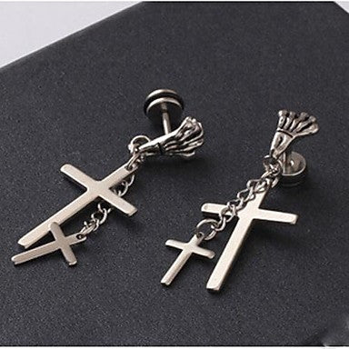 European Skull Hand Cross Titanium Steel Drop Earrings(Silver) (1 Pc)