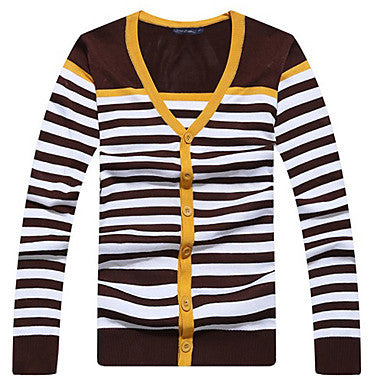 Men's Fashion Stripes Cardigan Knit Sweater