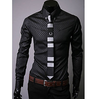 Men's Slim Check Cotton Long Sleeve Shirt