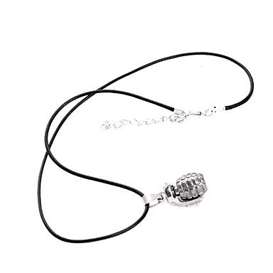 European Hand Grenade Black Leather Pendant Necklace (1 Pc)