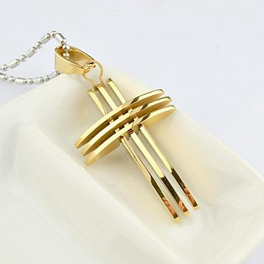 Fashion Men's Gold/Silver/Color Gold Multilayer Cross Titanium Steel Pendant Necklace