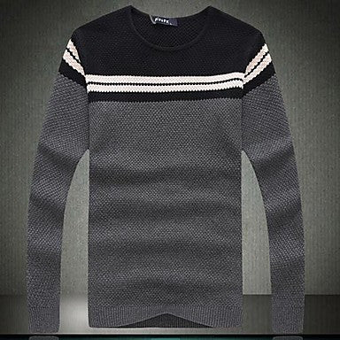Men's Wear Long Sleeved Round Collar Recreational Sweater