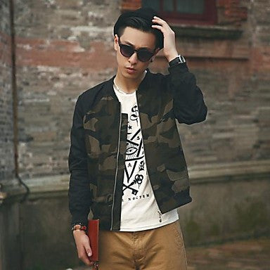 Men's Stand Collar Fashion Camouflage Color Matching Jacke Coat