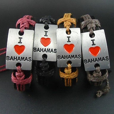 Fashion Vintage I Love Bahamas Charms Hemp Rope Women Men Leather Bracelet