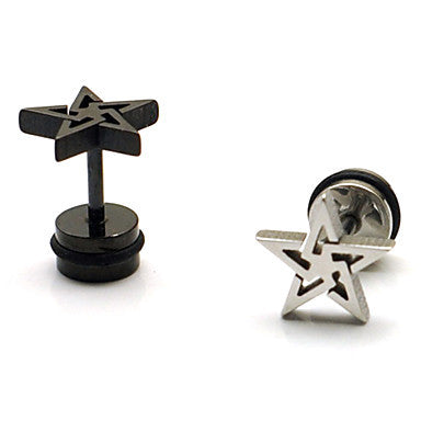 Fashion (Star Shape) Multicolor Titanium Steel Stud Earrings(Silver,Black) (1 Pc)