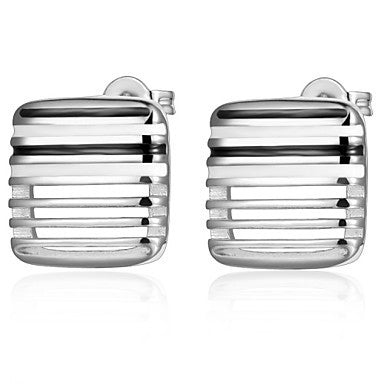 Gifr for Boyfriend High Quality Silver Plated Rectangle Men's Stud Earrings(1 pr)