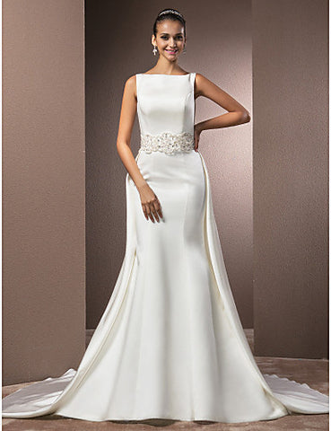 Trumpet/Mermaid Bateau Chapel Train Satin Wedding Dress