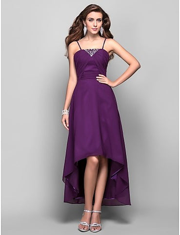 A-line Spaghetti Straps Asymmetrical Tea-length Chiffon Evening/Prom Dress With Beading